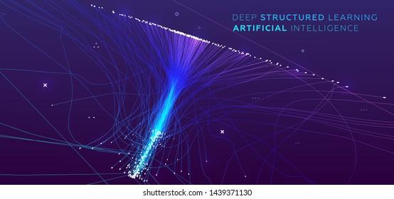 Quantencomputer, künstliche Intelligenz mit tiefem Lernen, Infografik von Signalkryptografiken, Vektorgrafiken. Visualisierung von Big-Data-Algorithmen für Unternehmen, wissenschaftliche Präsentationen, Poster, Cover