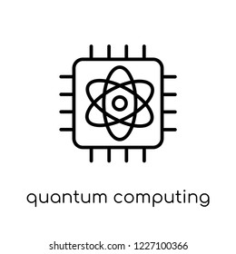 quantum computing icon. Trendy modern flat linear vector quantum computing icon on white background from thin line Artificial Intelligence, Future Technology collection, outline vector illustration