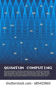 Quantum computing and signal cryptography trendy information technologies infographic vector illustrations. Big data algorithms visualization for business and science presentations posters and covers.