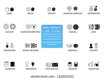 Quantum computing vector icon set optimized for web use