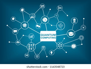 Quantum computing vector illustration on dark blue background