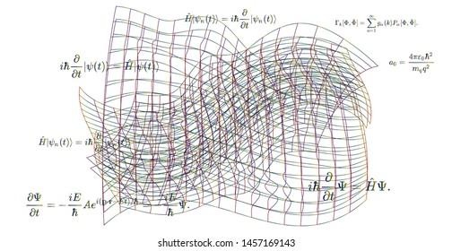 Quantum field fluctuations, distorted 3d gird and fundamental Quantum Mechanics formulas: Schrodinger equation,  quantum field theory, ect. Vector scientific illustration.