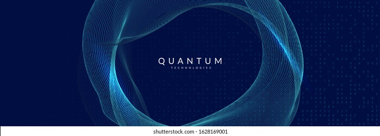 Quantum innovation computer. Digital technology. Artificial intelligence, deep learning and big data concept. Tech visual for server template. Modern quantum innovation computer backdrop.