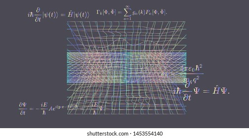 Quantum Mechanics formulas:  Erwin Schrodinger (or Schroedinger) equation,  where i is the imaginary unit, h is the reduced Planck constant, and H is the Hamiltonian operator. Vector illustration.