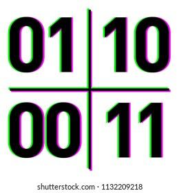 Quantum Qubit concept on white background