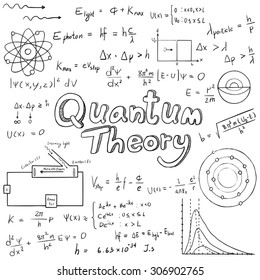 Quantum theory law and physics mathematical formula equation, doodle handwriting icon in white isolated background paper with hand drawn model, create by vector