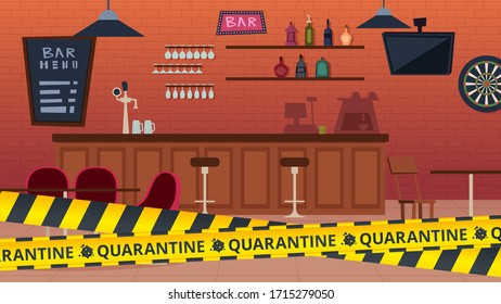 Quarantine bar closed. Global epidemic and isolation period, yellow caution stripes. Cafe interior vector illustration