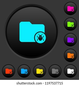 Quarantine directory dark push buttons with vivid color icons on dark grey background