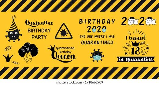 Quarantine home party clipart elements on yellow black caution banner Home Birthday celebration stickers coronavirus