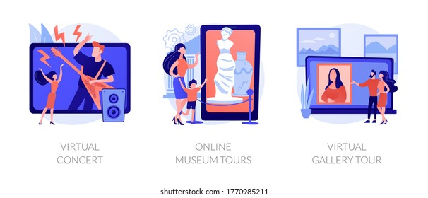 Quarantine leasure time abstract concept vector illustration set. Virtual concert, online museum tours, virtual gallery exhibition tour, art therapy, social distance, stay home abstract metaphor.