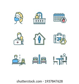 Quarantine RGB color icons set. Cloth mask wearing. Remote job. Events cancellation. Self-isolation. Working mother. Home workplace. Lockdown restrictions. Telecommuting. Isolated vector illustrations