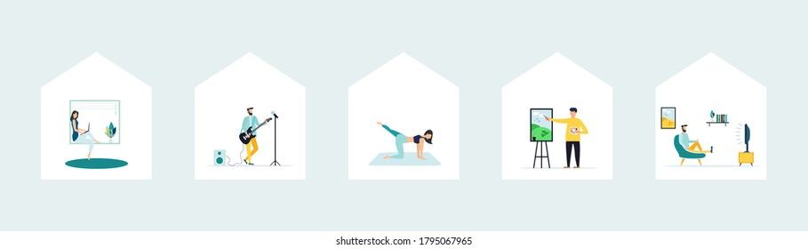 """Quarantine, a series of """"stay at home"""" concepts - people sit at home, in a room or apartment, do yoga, play the guitar, relax on the couch, draw, work at the computer. - Shutterstock ID 1795067965"""