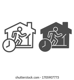 Quarantine sports at home line and solid icon. Person jogging at treadmill with clock outline style pictogram on white background. Social isolation for mobile concept and web design. Vector graphics