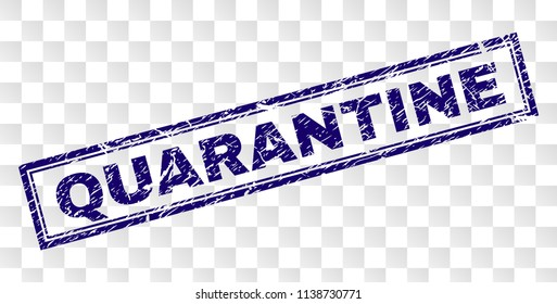 QUARANTINE stamp seal print with rubber print style and double framed rectangle shape. Stamp is placed on a transparent background. Blue vector rubber print of QUARANTINE caption with dust texture.