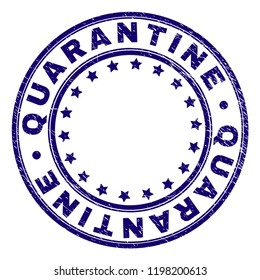 QUARANTINE stamp seal watermark with grunge texture. Designed with circles and stars. Blue vector rubber print of QUARANTINE caption with grunge texture.