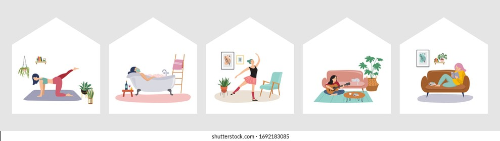 Quarantine, stay at home concept series - people sitting at their home, room or apartment, practicing yoga, enjoying meditation, relaxing on sofa, reading books, baking and listening to the music