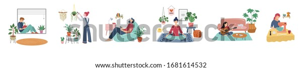 Quarantine, stay at home concept series - people sitting at their home, room or apartment, practicing yoga, enjoying meditation, relaxing on sofa, reading books, baking and listening to the music.