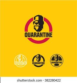 Quarantine, virus, surgeon, doctor icon, protective mask sign, biohazard quarantine area, radioactive