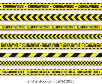 Quarantine zone warning tape. Novel coronavirus outbreak. Global lockdown. Coronavirus danger stripe. Police attention line. Vector illustration.