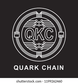 quark chain coin Cryptocurrency  icon with black background
