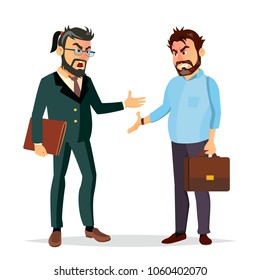 Quarrel Boss Vector. Office Workers Characters. Conflict. Disagreements. Negative Emotions. Quarreling People. Angry Colleagues. Shouting. Isolated Flat Cartoon Illustration