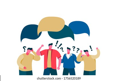 Quarrel people in chat rejection dialogue speech bubble. Group guys do not compromise, lack discus poor communication speech bubble angry color vector cartoon.