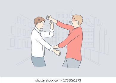 Quarrel, struggle, violence, aggression concept. Young angry furious men boys enemies cartoon characters yelling arguing fighting on street. Aggressive and violent behaviour and confict or rivalry.