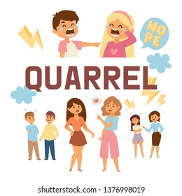 Quarrel vector people man woman character in family conflict with children illustration backdrop unhappy couple relationship problem crying kids boy quarreling with girl background.