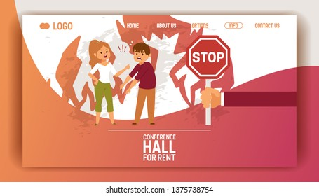 Quarrel vector web page people man woman character quarreling arguing, on backdrop family drama discussion illustration backdrop stop conflict web-site background.