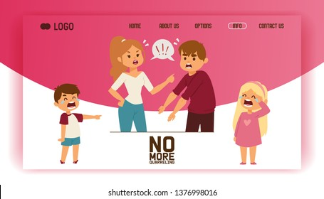 Quarrel vector web-page people man woman in family conflict crying children boy girl illustration backdrop unhappy couple relationship problem husband quarreling with wife background web site.