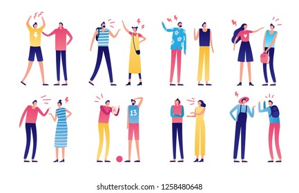 Quarreled couple. Couples of angry people, relationship disagreement problem and family quarrels. Conflict quarrel, person yelling aggression and fight. Arguing flat isolated vector icons set