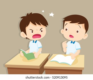 Quarreling kids. angry boy shouting at friend.Raging kids.children shouting to each other.pupils sit on desks.pupil are learning.