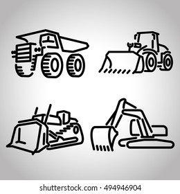 Quarry Heavy Machinery Icon Set