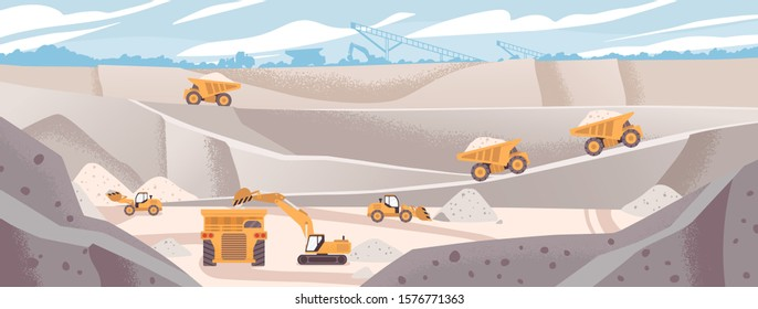 Quarry landscape flat vector illustration. Marble mining concept. Industrial machinery and transport. Excavators and dump trucks at opencast. Mine production, stone quarrying process.