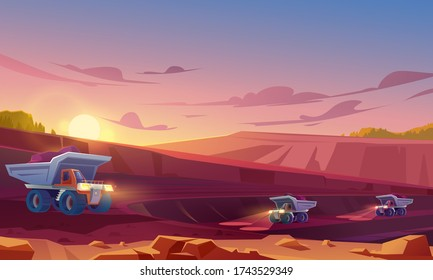 Quarry mining with heavy industrial machinery and transport. Dump trucks carry coal or metal ore at opencast. Pit dawn landscape, mine production, stone quarrying process. Cartoon vector illustration