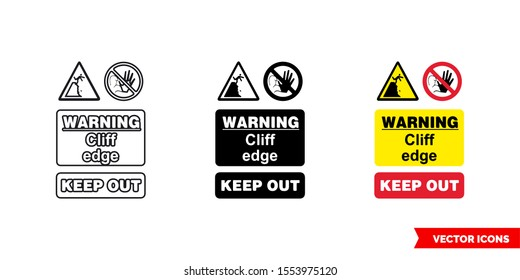 Quarry notice sign warning cliff edge keep out icon of 3 types: color, black and white, outline. Isolated vector sign symbol.