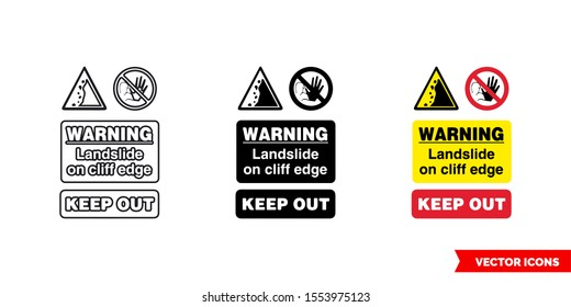 Quarry notice sign warning landslide on cliff edge keep out icon of 3 types: color, black and white, outline. Isolated vector sign symbol.
