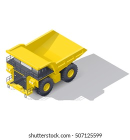 Quarry tipper truck isometric icon vector graphic illustration