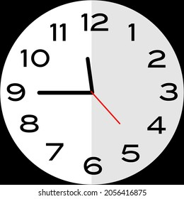 Quarter to 12 o'clock or Fifteen minutes to twelve o'clock or Fifteen minutes to midnight analog clock. Icon design use illustration flat design