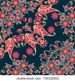 Quarter of the ethnic russian bandana print with floral border. Silk neck scarf with beautiful bouquets and paisley. Summer kerchief square pattern. Vector illustration.