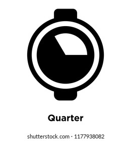 Quarter icon vector isolated on white background, logo concept of Quarter sign on transparent background, filled black symbol