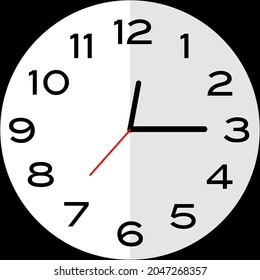 Quarter past 12 o'clock or Fifteen minutes past twelve o'clock or Fifteen minutes past midnight analog clock. Icon design use illustration flat design