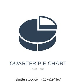 quarter pie chart icon vector on white background, quarter pie chart trendy filled icons from Business collection, quarter pie chart vector illustration