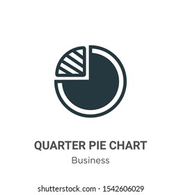 Quarter pie chart vector icon on white background. Flat vector quarter pie chart icon symbol sign from modern business collection for mobile concept and web apps design.