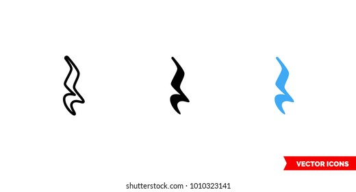 Quarter rest icon of 3 types: color, black and white, outline. Isolated vector sign symbol.