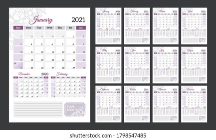 Quarterly calendar 2021. Vertical calendar in a romantic style with hand-drawn flowers.
