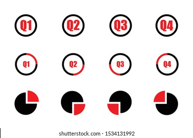 Quarterly icon set red and black showind first quarter second quarter third quarte and fourth quarter on three different designs isolated on white background