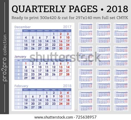 quarterly pages 2018 year set wall calendar cmyk ready to print english grid set wall