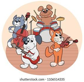 Quartet of animals playing music