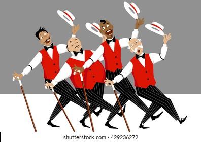 Quartet of singers in barbershop genre singing and dancing, EPS 8 vector illustration, no transparencies